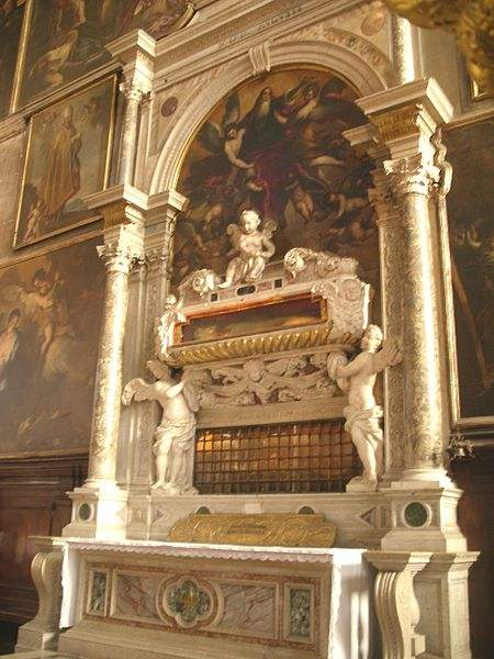 Double reliquary with the tomb of St. Zechariah, father of John the Baptist and Saint Athanasius in the Church of San Zaccaria Venice.