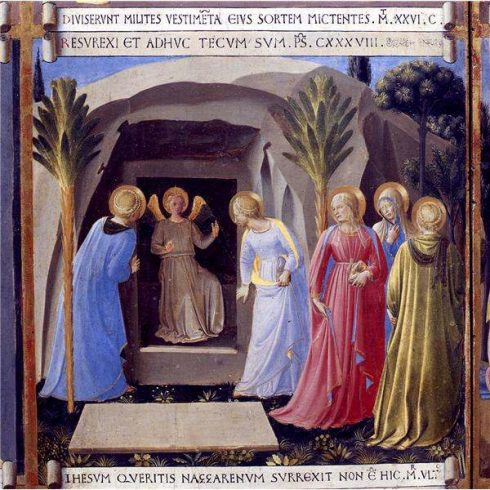 The Angel telling the three women at the Tomb of the Resurrection of Christ. Painting for the Armadio degli Argenti by Bl. Fra Angelico