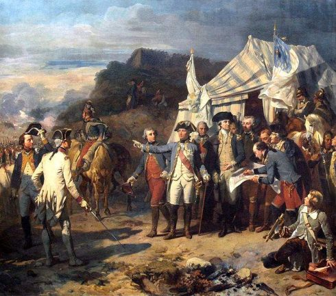 Painting of the Siege of Yorktown (1781) by by Auguste Couder. Marshal Rochambeau and George Washington giving their last orders before the battle.