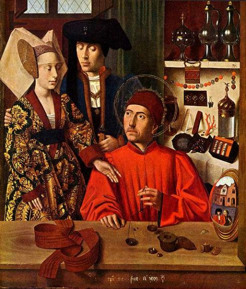 The Legend of Saint Eligius and Saint Godeberta in his goldsmith workshop by Petrus Christus.