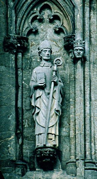 Statue of Saint Swithun in the Stavanger Cathedral. Photo by Nina Aldin Thune.