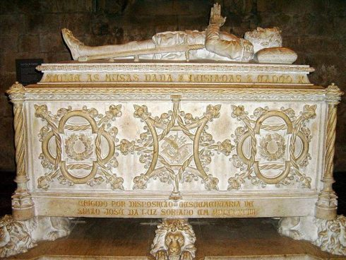 Tomb of Luís Vaz de Camões in Mosteiro dos Jerónimos, Lisbon, Portugal. He is buried near Vasco da Gama in the Jerónimos Monastery