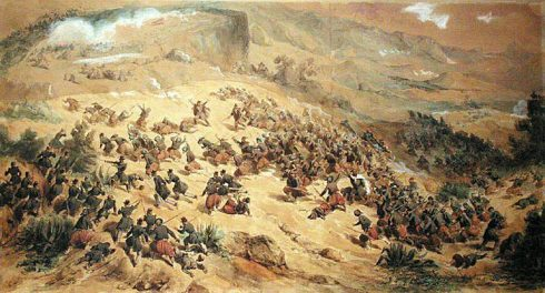 Battle at Mouzaïa in 1840. May 12, 1840 by the Zouaves and infantrymen of Vincennes under the command of Colonel de La Moriciere.
