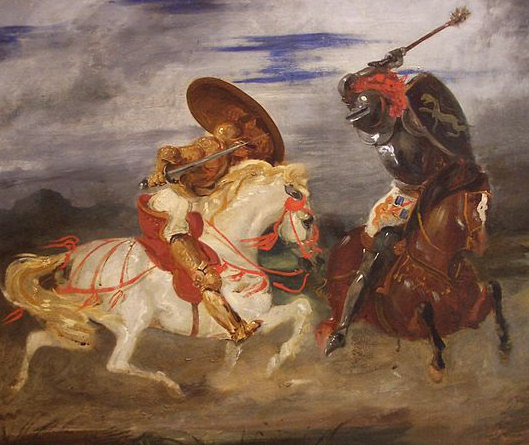 Confrontation of knights in the countryside by Eugène Delacroix