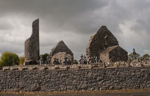 Kilbennan Monastery (also called Kilbenan or Kilbannon), County Galway, Ireland, was founded by St. Benignus. Photo by Andreas F. Borchert.