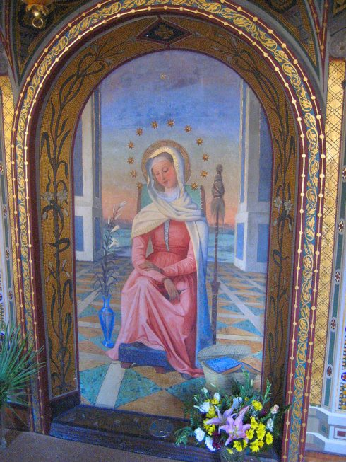 The miraculous Image of Mater Admirabilis was painted in 1844 by Pauline Perdrau, who at that time was a Sacred Heart postulant. This Image is in Rome near the Spanish steps at Trinita dei Monti, the Monastery of the Religious of the Sacred Heart. A statue or painting of Mater Admirabilis can be found in every Sacred Heart school around the world.