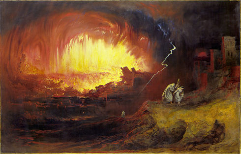 The Destruction of Sodom and Gomorrah, with Lot and his family fleeing. Painted by John Martin.