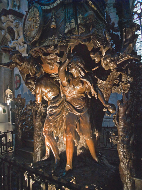 Adam and Eve expelled from Eden, detail of the pulpit carved by Hendrik Frans Verbruggen (1699), St. Michael and St. Gudula Cathedral, Brussels, Belgium. Photo taken by Myrabella