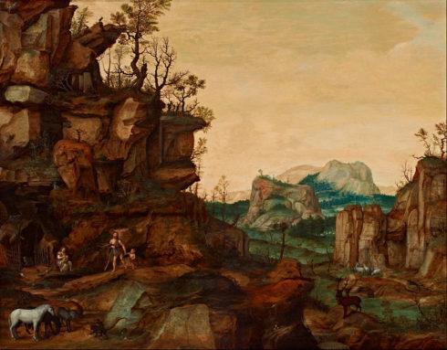 Landscape with Adam, Eve, Cain and Abel. Painting by Cornelis van Dalem.