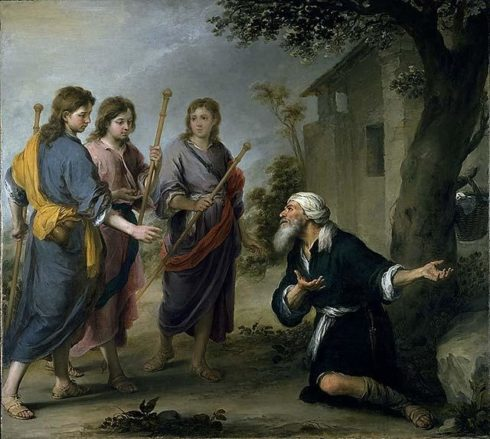 Abraham Receiving the Three Angels. Painting by Bartolomé Esteban Murillo