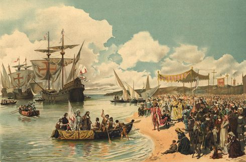 The departure of Vasco da Gama to India in 1497. Painting by Alfredo Roque Gameiro.