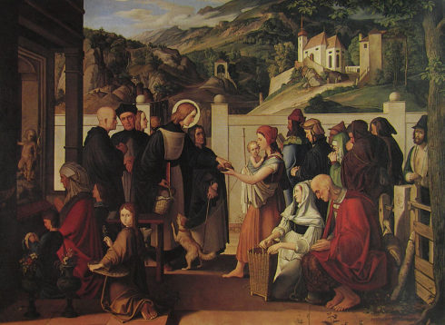 St. Roch distributing alms, painting by Julius Schnorr von Carolsfeld.