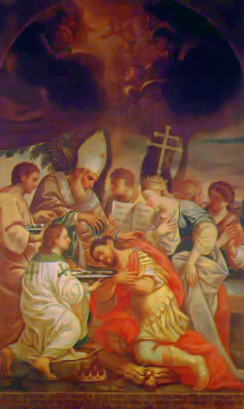 Baptism of Tiridates III of Armenia by Saint Gregory the Illuminator.