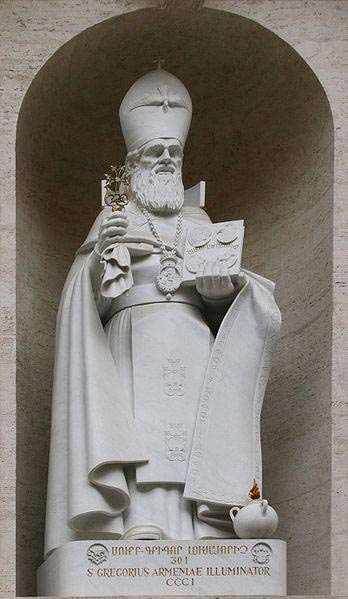 Statue of St. Gregory the Illuminator in Vatican City on the facade of Saint Peter's Basilica.