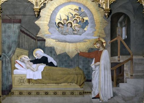 Fresco of The Death of St. Joseph by Modesto Faustini in the Spanish chapel at the Holy House of Loreto Church and Shrine, Italy.