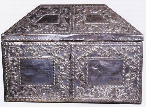 Silver reliquary with Saints Eulogius and Leocritia of Cordoba remains, in Camara Santa, Oviedo Cathedral, Spain.