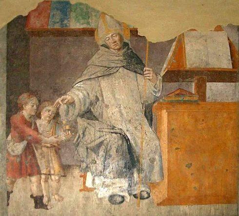Fresco of The alms of Sant'Antonio Pierozzi in the Church of San Domenico, Torino, Italy.