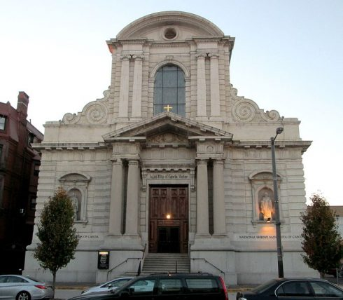 The National Shrine of St. Rita of Cascia in the South Philadelphia neighborhood of Philadelphia, Pennsylvania. It was founded in 1907 by the Augustinian Friars. The shrine has a first class relic of St. Rita, along with her habit. Photo by Beyond My Ken. Click on the photo to be directed to the shrine.
