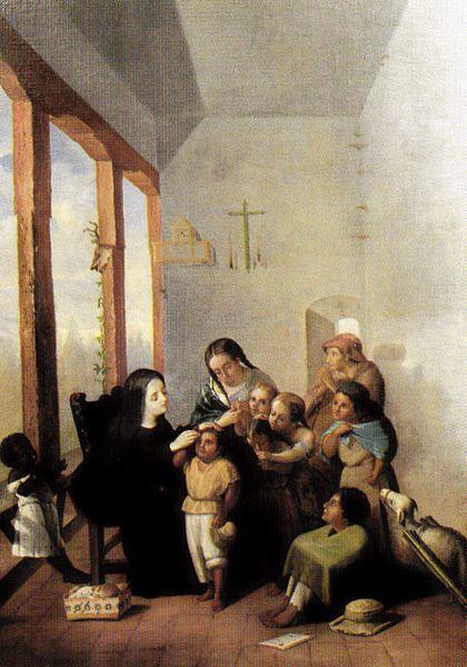 St. Mariana de Jesús de Paredes teaching the children.