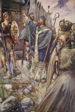 St. Columba banging on the gate of Bridei, son of Maelchon, King of Fortriu.