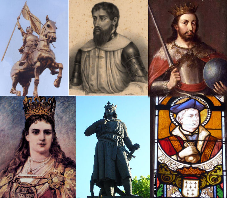 Top row, L to R: St. Joan of Arc, St. Nuno Álvares Pereira, King St. Ferdinand III. Bottom Row: St. Jadwiga of Poland, King St. Louis IX & St. Ivo of Kermartin (also called St. Yves).