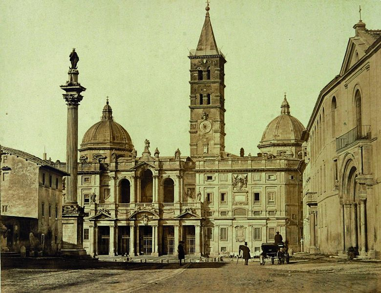 Photo of the Basilica of St. Mary Major taken in 1860. The basilica's 16th-century coffered ceiling is said to be gilded with gold, brought by Christopher Columbus and presented by King Ferdinand and Queen Isabella to the Spanish Pope, Alexander VI.