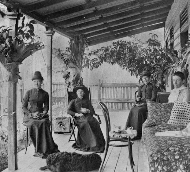 Group of women enjoying their tea in Queensland, ca. 1887.
