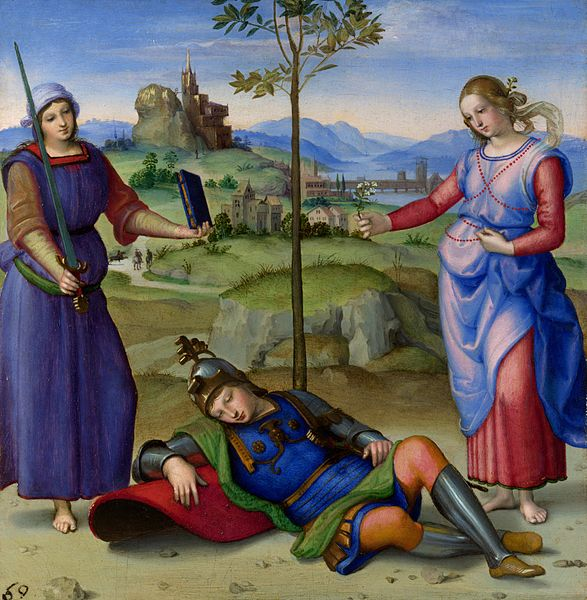 Vision of a Knight by   Raphael is an example of Proto-Renaissance art, which was during the decline of the Middle Ages and the start of the Renaissance.