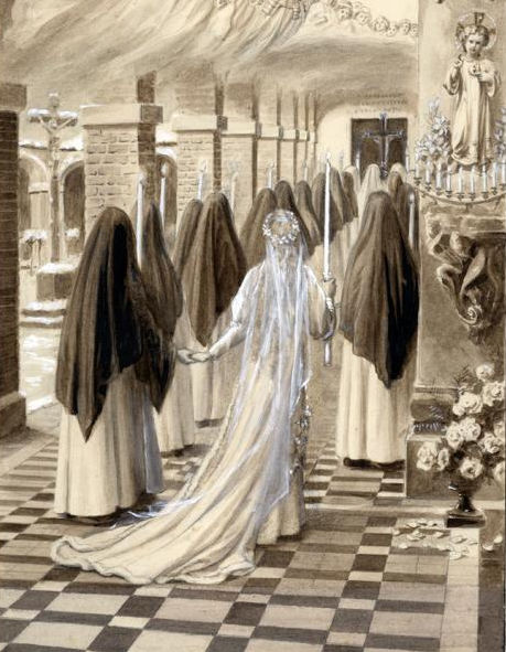St. Thérèse going to choir in procession on the day she took the habit - wash by Charles Jouvenot.