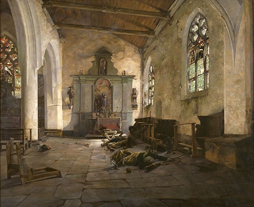 A section from a Republican regiment led by general Canclaux massacred a group of Chouans sheltering in a chapel. The Chouans fought to the death. The picture shows the interior of the chapel after the departure of the Republican troops (whose storming of the building is symbolized by the hat with the tricolor cockade left abandoned on the ground). The dead bodies and broken church furnishings testify to the violence of the action. Painting by Alexandre Bloch.