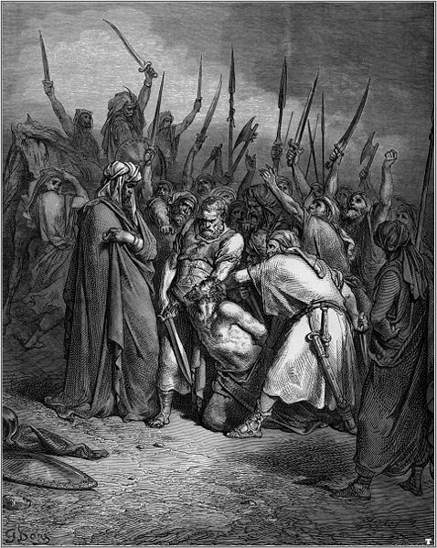 "Gustave Doré, The Death of Agag. Agag was executed by Samuel God had commanded him to ""completely destroy"" the Amalekites"