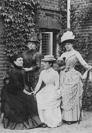 Jerome sisters, Clara, Jennie and Leonie. Jennie Jerome, later became Lady Randolph Churchill, with her mother and sisters (b/w photo) by English Photographer, (19th century); black and white photograph; Private Collection; (add. info.: Jennie Jerome (1854-1921) Lady Randolph Churchill, American born society hostess and writer, shown on the right holding her dog; mother of Winston Churchill (1874-1965) British Prime Minister); English, out of copyright