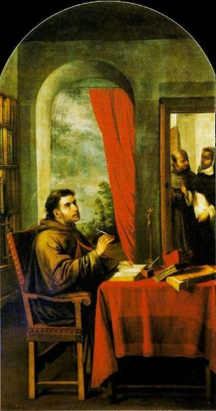 St. Bonaventure is visited by St. Thomas Aquinas. Painting by Francisco de Zurbarán