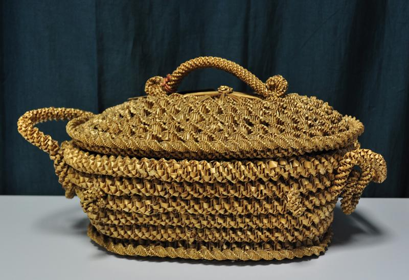 Handwoven basket brought from Napoli - 35 cm. long.