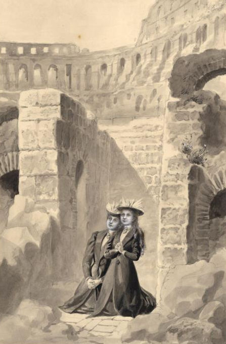 In the Roman Coliseum with Céline - wash by Charles Jouvenot.