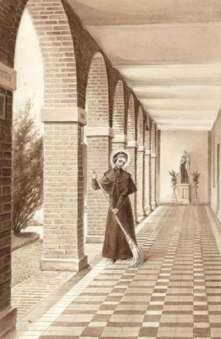 St. Thérèse as postulant, sweeping the cloister - wash by Charles Jouvenot.