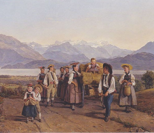 Homecoming from the harvest (On Lake Zug), painting by Ferdinand Georg Waldmüller