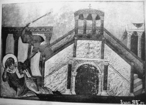 Painting showing the death of St. Ignatius from the Menologion of Basil II