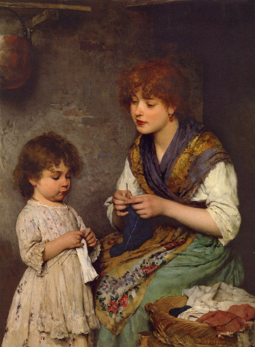 The Knitting Lesson by Eugene de Blaas