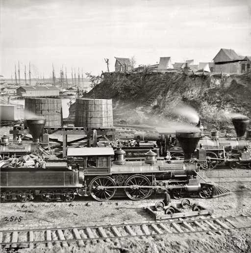 """City Point, Virginia, circa 1865. """"Gen. J.C. Robinson"""" and other locomotives of the U.S. Military Railroad."""