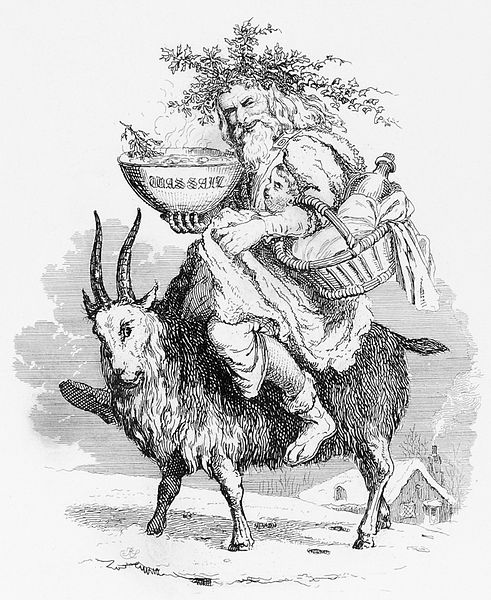 'Old Christmas', shown riding a yule goat. 1836