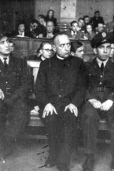 """Cardinal Josef Mindszenty, Archbishop-Prince of Esztergom and Primate-Regent of Hungary, Servant of God, pictured here at his 1949 """"show trial"""", 1892 – 1975. Cardinal Mindszenty was imprisoned by the pro-Nazi Arrow Cross Party. After the war, he opposed Communism and it's persecution in Hungary. As a result, Cardinal Mindszenty was tortured and given a life sentence in a 1949 show trial that generated worldwide condemnation. After eight years in prison, he was freed in the Hungarian Revolution of 1956 and granted political asylum by the United States embassy in Budapest, where Cardinal Mindszenty lived for the next fifteen years. He was finally allowed to leave the country in 1971. He died in exile in 1975 in Vienna, Austria."""